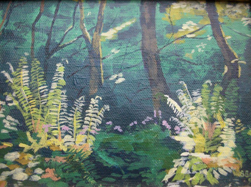 Ferns in the East Lyn valley, Exmoor; acrylic on canvas; 9%22 x 6%22