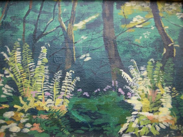 Ferns in the East Lyn valley, Exmoor; acrylic on canvas; 9%22 x 6%22