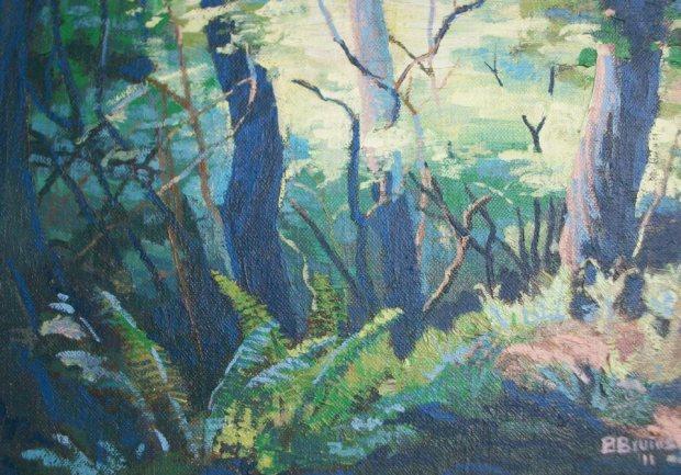 Woodland near the Eat Lyn, Oil on Canvas 10%22x7%22pg