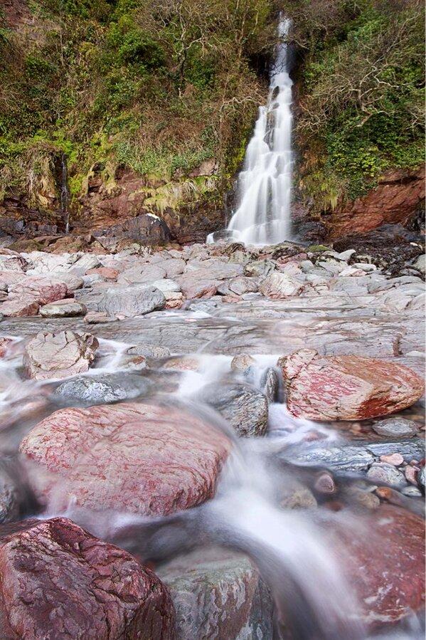 Waterfall at Woody Bay