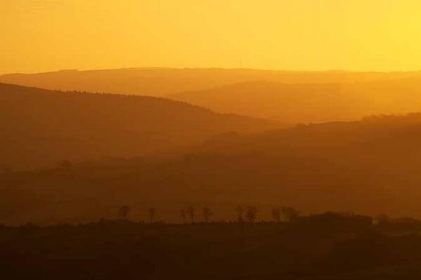 Sunrise on a misty morning on Exmoor. Photo taken on 30 November 2013 by Rob Hatton