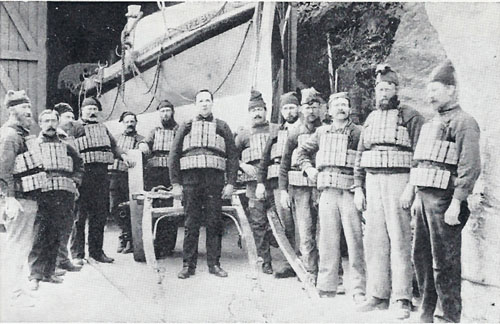 Captain Jack Crocombe and crew and their beloved LOUISA lifeboat at Lynmouth Lifeboat Station in the early 1900s
