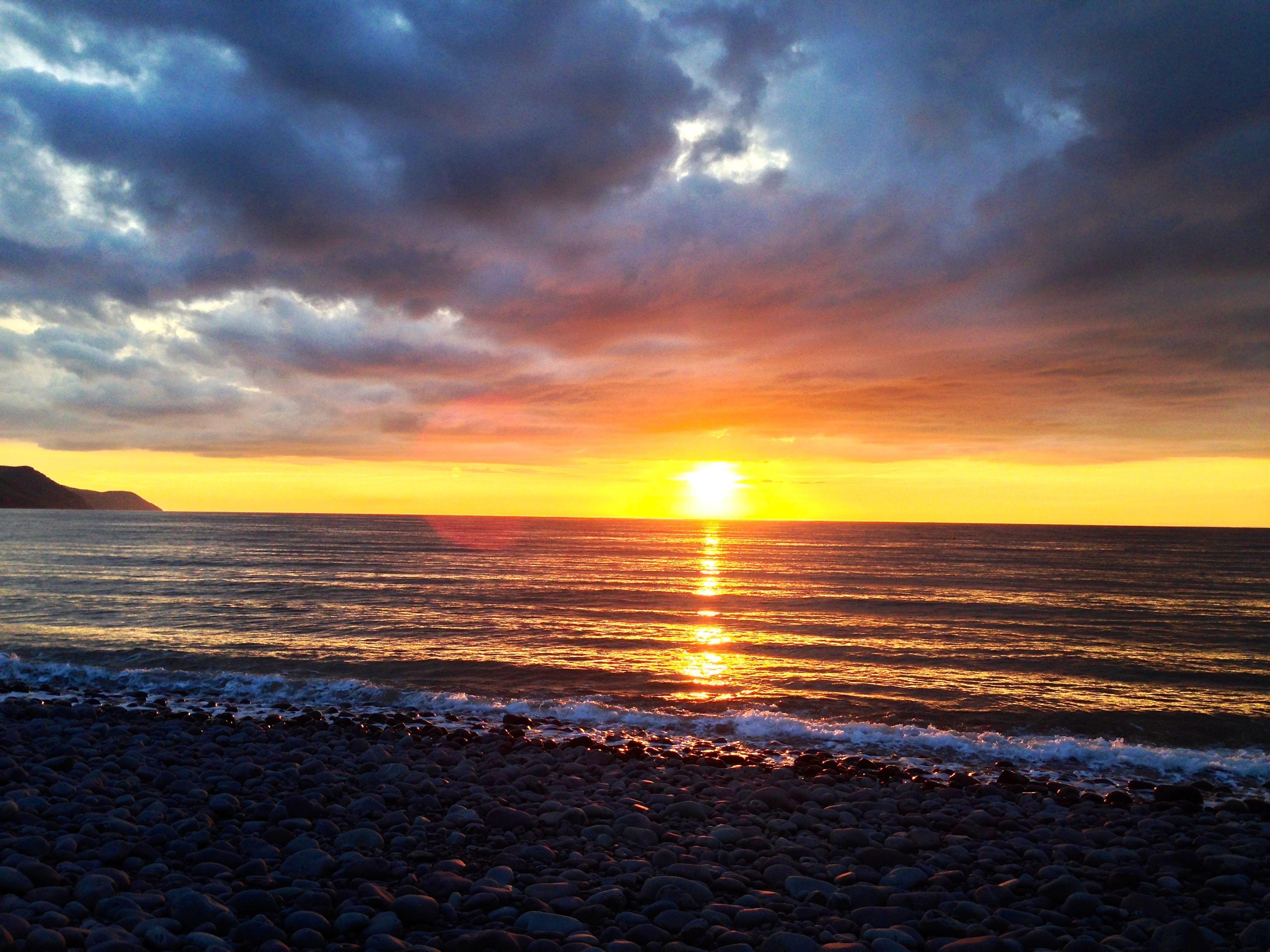 Sunset at Bossington Beach, 5 June 2014