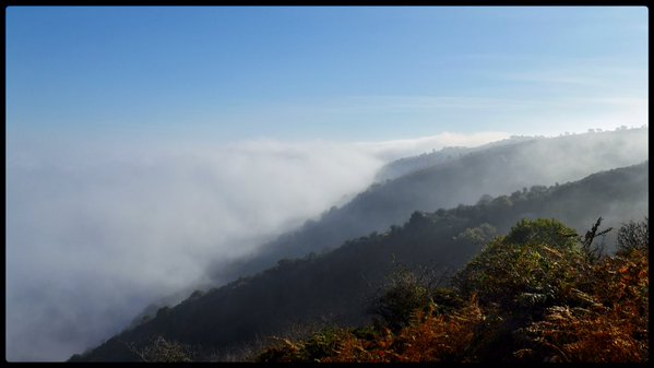 The sea mist rolling in over Exmoor and North Hill. Photo by Paul Feeney.