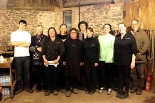 Claire's Kitchen Team: Bradley Oakley, Cathy Powell (Exmoor Owl and Hawk Centre), Claire Lynch, Brenda Virgin, Jane Ems, Joel Lynch, Tara Jones, Lucy Watters, Joanne Morten, Rod (Exmoor Owl and Hawk Centre)