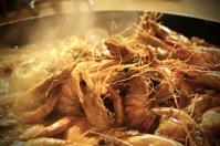 Sizzling prawns