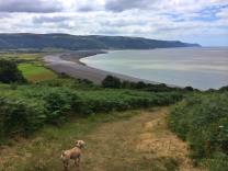 82 Lucie Lochrin Diddie enjoying the view of Bossington beach from Hurlstone Point