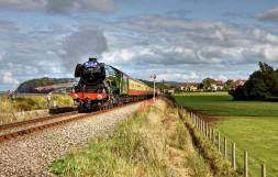 0913 Austin Appleyby The Flying Scotsman leaving Blue Anchor yesterday afternoon heading towards Minehead